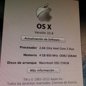 iMac con Mountain Lion y SSD