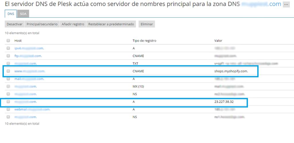 DNS para dominio de Shopify