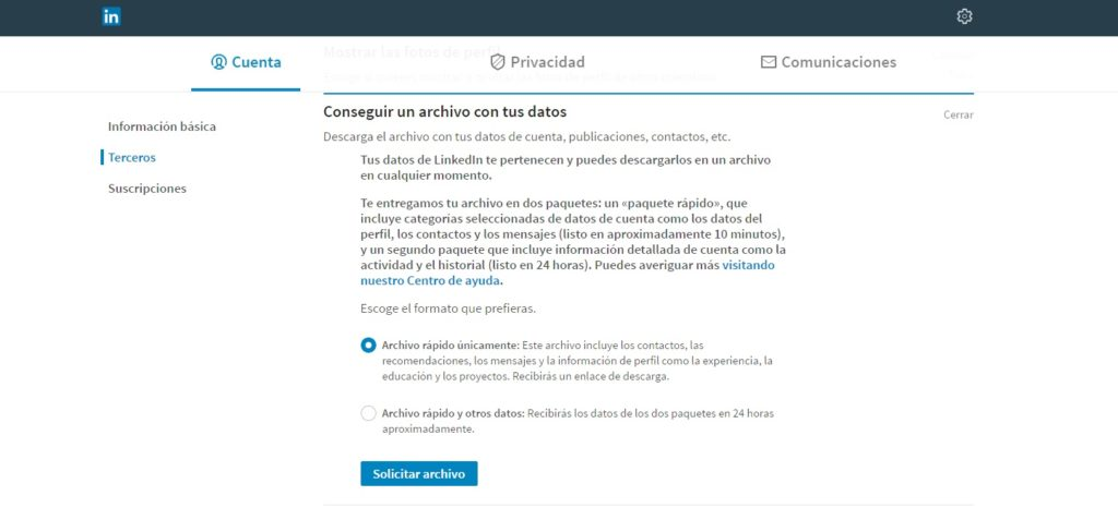 Descarga los emails de Linkedin